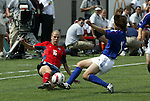 6 June 2004: Lindsay Tarpley (16) and Aya Shimokozuru (right) challenge for the ball in the first half. The United States tied Japan 1-1 at Papa John's Cardinal Stadium in Louisville, KY in an international friendly soccer game..