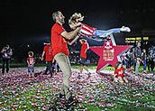 June 4th 2017, Estadi Montilivi,  Girona, Catalonia, Spain; Spanish Segunda División Football, Girona versus Zaragoza; Machin with his little daughter show their delight at being promoted to La Liga for 2017-18 season