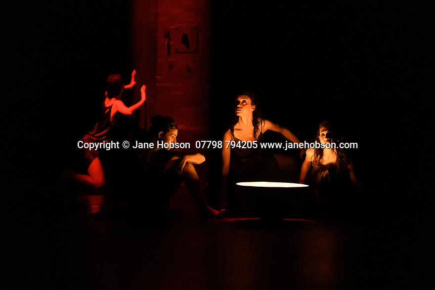 """The Barbican presents Viviana Durante Company, in the world premiere of """"Isadora Now"""", an evening paying tribute to feminist icon, Isadora Duncan, in the Barbican theatre. The piece shown is: DANCE OF THE FURIES, choreographed by Isadora Duncan, re-staged by Barbara Kane and Viviana Durante. The dancers are: Begona Cao, Christina Cecchini, Nikita Goile, Charmene Pang, Serena Zaccagnini."""
