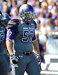 SIOUX FALLS, SD - SEPTEMBER 6: Grant Schindler #57 from the University of Sioux Falls gets ready for the play against Minot State in the first quarter of their game Saturday afternoon at Bob Young Field in Sioux Falls.  (Photo by Dave Eggen/Inertia) (Photo by Dave Eggen/Inertia)