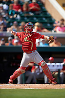 Florida Southern Moccasins catcher Evan Barnes (39) throws down to second base during an exhibition game against the Detroit Tigers on February 29, 2016 at Joker Marchant Stadium in Lakeland, Florida.  Detroit defeated Florida Southern 7-2.  (Mike Janes/Four Seam Images)