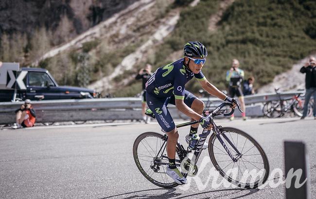 Nairo Quintana (COL/Movistar) up the Passo Gardena / Gr&ouml;dnerjoch (2221m)<br /> <br /> Stage 18: Moena &rsaquo; Ortisei/St. Urlich (137km)<br /> 100th Giro d'Italia 2017