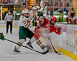 29 December 2018: University of Vermont Catamount Forward Craig Puffer, a Senior from New Canaan, CT, checks Rensselaer Engineer Forward Jacob Hayhurst, a Junior from Missassauga, ON, during their first period of play at Gutterson Fieldhouse in Burlington, Vermont. The Catamounts rallied to defeat the Engineers 4-2 and take the Catamount Cup in the annual tournament at the Gut. Mandatory Credit: Ed Wolfstein Photo *** RAW (NEF) Image File Available ***