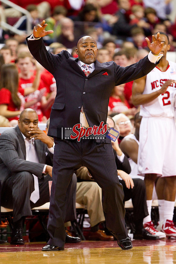 North Carolina State Wolfpack head coach Sidney Lowe on the sidelines during an Atlantic Coast Conference game against the Wake Forest Demon Deacons at the RBC Center on January 8, 2011 in Raleigh, North Carolina.  The Wolfpack defeated the Demon Deacons 90-69.  Photo by Brian Westerholt / Sports On Film