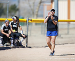 Western Nevada's Coach Leah Wentworth cheers on her team against Colorado North Western at Edmonds Sports Complex Carson City, Nev., on Friday, March 18, 2016.<br /> Photo by Jeff Mulvihill, Jr.