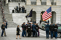 The flag-draped casket of former President George H.W. Bush is transported from the U.S. Capitol to the National Cathedral Wednesday, Dec. 5, 2018, in Washington. (Sarah Silbiger/The New York Times via AP, Pool)<br /> Credit: Sarah Silbiger / Pool via CNP / MediaPunch
