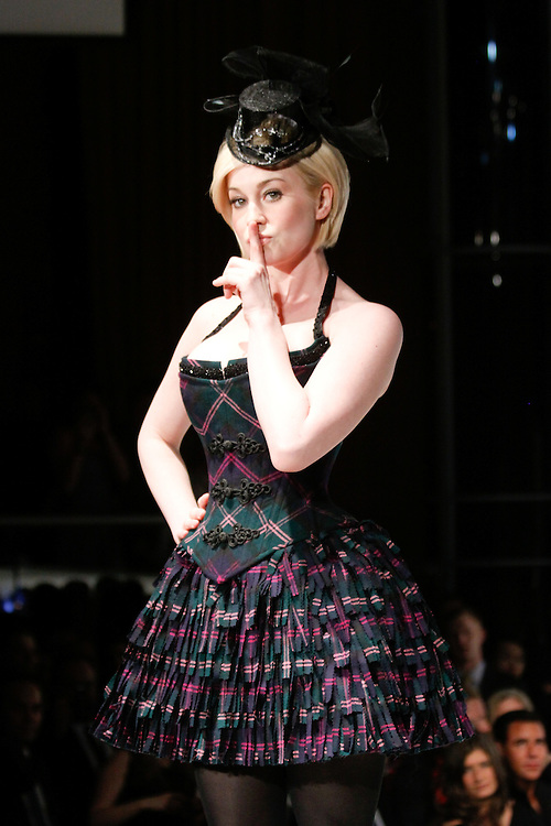 NEW YORK - APRIL 5:  Kellie Pickler walks the runway during the 2010 Dressed to Kilt at M2 Club April 5, 2010 in New York City. (Photo by Donald Bowers)