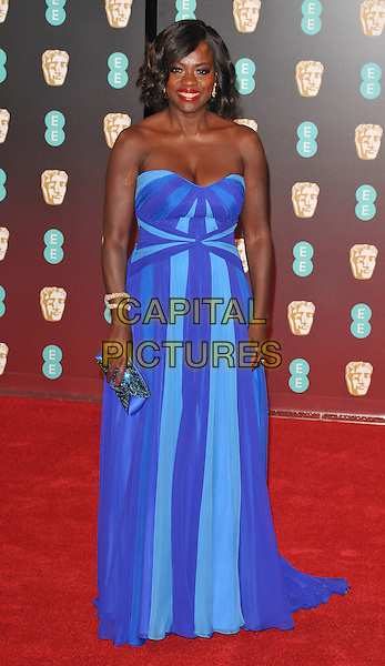 Viola Davis at the EE British Academy Film Awards (BAFTAs) 2017, Royal Albert Hall, Kensington Gore, London, England, UK, on Sunday 12 February 2017.<br /> CAP/CAN<br /> &copy;CAN/Capital Pictures
