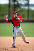 Washington Nationals Jose Lozada (5) during practice before a minor league Spring Training game against the Detroit Tigers on March 21, 2016 at Tigertown in Lakeland, Florida.  (Mike Janes/Four Seam Images)
