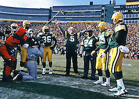 "Former Packers Willie Wood and Paul Hornung serve as Honorary Co-Captains of the NFC Championship game between the Packers and the Carolina Panthers at Lambeau Field on January 12, 1997. This was the first title game in Green Bay since the ""Ice Bowl"" in 1967."