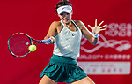 Zhang Ling of Hong Kong competes against Wang Qiang of China during the singles first round match at the WTA Prudential Hong Kong Tennis Open 2018 at the Victoria Park Tennis Stadium on 09 October 2018 in Hong Kong, Hong Kong.