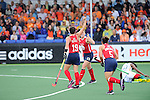 The Hague, Netherlands, June 10: Caroline Nichols #19 of USA and Katelyn Falgowski #23 of USA celebrate after scoring during the field hockey group match (Women - Group B) between USA and South Africa on June 10, 2014 during the World Cup 2014 at GreenFields Stadium in The Hague, Netherlands. Final score 4-2 (1-0) (Photo by Dirk Markgraf / www.265-images.com) *** Local caption *** Caroline Nichols #19 of USA, Katelyn Falgowski #23 of USA, Melissa Gonzalez #5 of USA