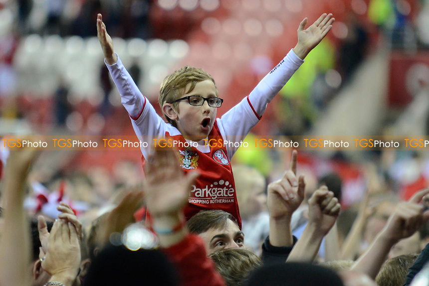 Rotherham fans celebrate - Rotherham United vs Leyton Orient - Sky Bet League One Promotion Play-Off Semi-Final 2nd Leg at the New York Stadium, Rotherham - 15/05/14 - MANDATORY CREDIT: Greig Bertram/TGSPHOTO - Self billing applies where appropriate - 0845 094 6026 - contact@tgsphoto.co.uk - NO UNPAID USE