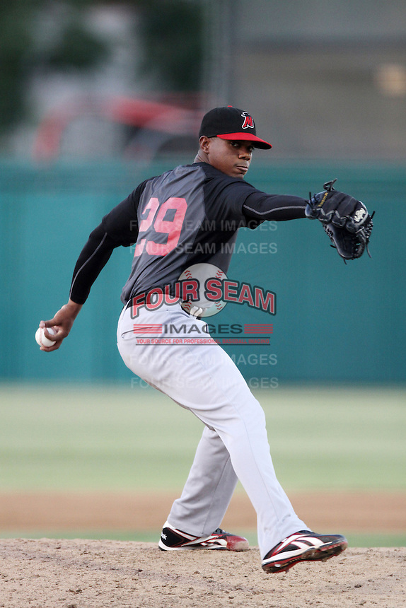 Roenis Elias #29 of the High Desert Mavericks pitches against the Inland Empire 66'ers at San Manuel Stadium on August 26, 2012 in San Bernardino, California. High Desert defeated Inland Empire 4-0. (Larry Goren/Four Seam Images)