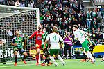 Stockholm 2014-06-18 Fotboll Superettan Hammarby IF - GAIS :  <br /> Hammarbys Thomas Guldborg Christensen nickar i ribban i den andra halvleken<br /> (Foto: Kenta J&ouml;nsson) Nyckelord:  Superettan Tele2 Arena Hammarby HIF Bajen GAIS