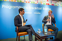 """Discussion """"Programmatic and creativity - The fireside chat"""" with Jeff Green, CEO & Founder, The Trade Desk, USA, and Robert Sawatzky, Head of Content, Campaign Asia-Pacific, Hong Kong, during the The Trade Desk Programmatic Breakfast Briefing on 13July 2017 in the China Club, Hong Kong. Photo by Lucas Schifres"""