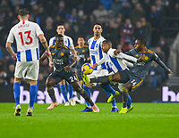 Brighton & Hove Albion's Jose Izquierdo battles with Leicester City's Ricardo Pereira (right) <br /> <br /> Photographer David Horton/CameraSport<br /> <br /> The Premier League - Brighton and Hove Albion v Leicester City - Saturday 24th November 2018 - The Amex Stadium - Brighton<br /> <br /> World Copyright © 2018 CameraSport. All rights reserved. 43 Linden Ave. Countesthorpe. Leicester. England. LE8 5PG - Tel: +44 (0) 116 277 4147 - admin@camerasport.com - www.camerasport.com