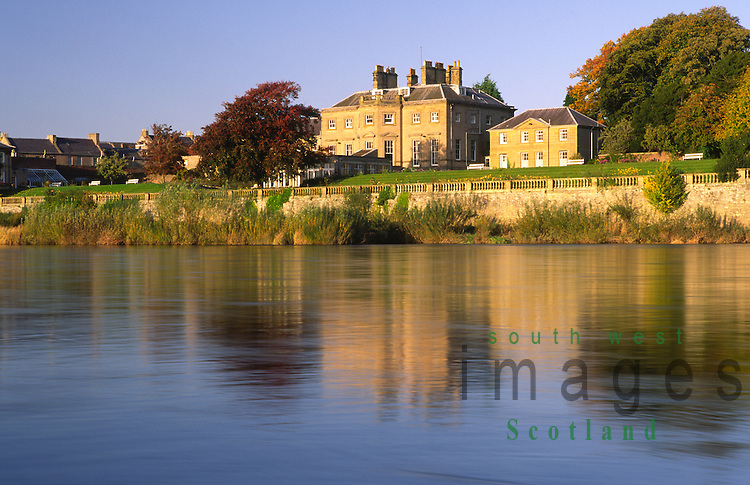 The Junction Pool on the River Tweed looking across to Ednam House Hotel in Kelso Scottish Borders Scotland UK
