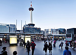 View on Kyoto tower from Kyoto Station, evening city scenery in Shimogyo-ku, Kyoto, Japan 2017.