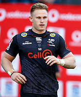 DURBAN, SOUTH AFRICA - JUNE 01: Daniel Du Preez of the Cell C Sharks during the Super Rugby match between Cell C Sharks and Hurricanes at Jonsson Kings Park Stadium in Durban, South Africa on Saturday, 1 June 2019. Photo by Steve Haag / stevehaagsports.com