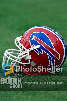 24 December 2006: Buffalo Bills helmet lies on the sidelines prior to a game against the Tennessee Titans at Ralph Wilson Stadium in Orchard Park, New York. The Titans edged out the Bills 30-29.&amp;#xA; &amp;#xA;Mandatory Photo Credit: Ed Wolfstein Photo<br />