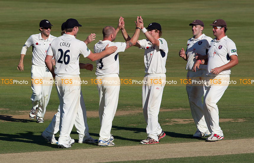 The Kent players congratulate Darren Stevens on his fourth victim which put them on the threshold of victory - Kent CCC vs Derbyshire CCC - LV County Championship Division Two Cricket at the St Lawrence Ground, Canterbury - 07/09/12 - MANDATORY CREDIT: Ray Lawrence/TGSPHOTO - Self billing applies where appropriate - 0845 094 6026 - contact@tgsphoto.co.uk - NO UNPAID USE.
