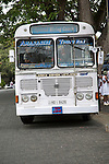Lanka Ashok Leyland tour coach bus on hire intown of Galle, Sri Lanka, Asia