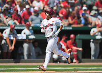 NWA Democrat-Gazette/CHARLIE KAIJO South Carolina infielder Justin Row (3) scores during the second game of the NCAA super regional baseball, Sunday, June 10, 2018 at Baum Stadium in Fayetteville. Arkansas fell to South Carolina 5-8.