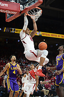 NWA Democrat-Gazette/ANDY SHUPE<br /> Arkansas forward Daniel Gafford dunks the ball over LSU forward Naz Reid (0) Friday, Jan. 11, 2019, during the second half of play in Bud Walton Arena in Fayetteville. Visit nwadg.com/photos to see more photographs from the game.