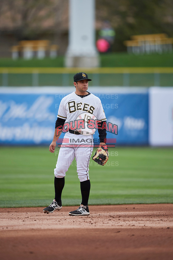 David Fletcher (15) of the Salt Lake Bees during the game against the Albuquerque Isotopes at Smith's Ballpark on April 8, 2018 in Salt Lake City, Utah. Albuquerque defeated Salt Lake 11-4. (Stephen Smith/Four Seam Images)