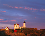 "York County, ME: Cape Neddick (""Nubble"") Light Station (1879) with late evening sun"