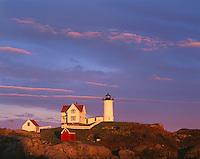 "York County, ME: Cape Neddick (""Nubble"") Light Station (1879) with late evening sun"