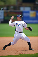 GCL Rays third baseman Cody Semler (10) warmup throw to first during the second game of a doubleheader against the GCL Red Sox on August 4, 2015 at Charlotte Sports Park in Port Charlotte, Florida.  GCL Red Sox defeated the GCL Rays 2-1.  (Mike Janes/Four Seam Images)