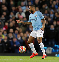 Manchester City's Raheem Sterling<br /> <br /> Photographer Rich Linley/CameraSport<br /> <br /> UEFA Champions League Round of 16 Second Leg - Manchester City v FC Schalke 04 - Tuesday 12th March 2019 - The Etihad - Manchester<br />  <br /> World Copyright © 2018 CameraSport. All rights reserved. 43 Linden Ave. Countesthorpe. Leicester. England. LE8 5PG - Tel: +44 (0) 116 277 4147 - admin@camerasport.com - www.camerasport.com