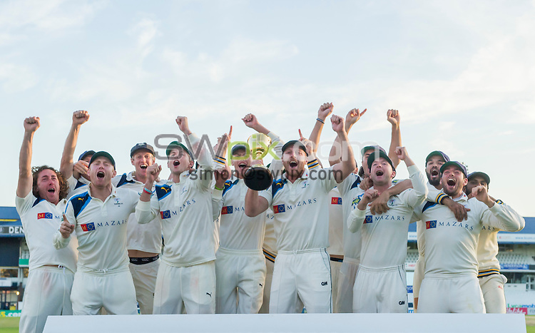 Picture by Allan McKenzie/SWpix.com - 26/09/2014 - Cricket - LV County Championship Div One - Yorkshire County Cricket Club v Somerset County Cricket Club - Headingley Cricket Ground, Leeds, England - The Yorkshire team celebrate in front of their supporters.