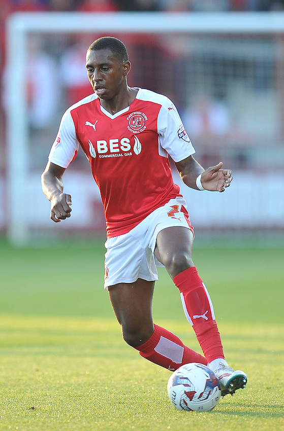 Fleetwood Town's Amari'i Bell<br /> <br /> Photographer Dave Howarth/CameraSport<br /> <br /> Football - Capital One Cup First Round - Fleetwood Town v Hartlepool United - Tuesday 11th August 2015 - Highbury Stadium - Fleetwood<br />  <br /> &copy; CameraSport - 43 Linden Ave. Countesthorpe. Leicester. England. LE8 5PG - Tel: +44 (0) 116 277 4147 - admin@camerasport.com - www.camerasport.com