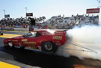Feb. 17 2012; Chandler, AZ, USA; NHRA nostalgia funny car driver Jason Rupert during qualifying for the Arizona Nationals at Firebird International Raceway. Mandatory Credit: Mark J. Rebilas-