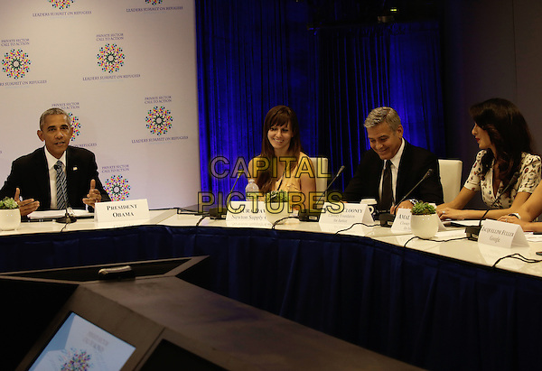United States President Barack Obama (L) with US actor George Clooney (2ndR) and wife Amal Clooney (L) attend a Private Sector CEO Roundtable Summit for Refugees during the United Nations 71st session of the General Debate at the United Nations General Assembly at United Nations headquarters in New York, New York, USA, 20 September 2016.<br /> CAP/MPI/RS<br /> &copy;RS/MPI/Capital Pictures
