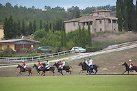 Italy. Tuscany. Polo Club Villa A Sesta is located near the village of Ripaltella and Pietraviva (Arezzo). Polo players riding horses while hitting ball during polo game. Riccardo Tattoni is the owner of Polo Club Villa A Sesta. 17.09.10 © 2010 Didier Ruef