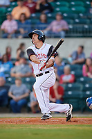Arkansas Travelers third baseman Seth Mejias-Brean (28) follows through on a swing during a game against the Midland RockHounds on May 25, 2017 at Dickey-Stephens Park in Little Rock, Arkansas.  Midland defeated Arkansas 8-1.  (Mike Janes/Four Seam Images)