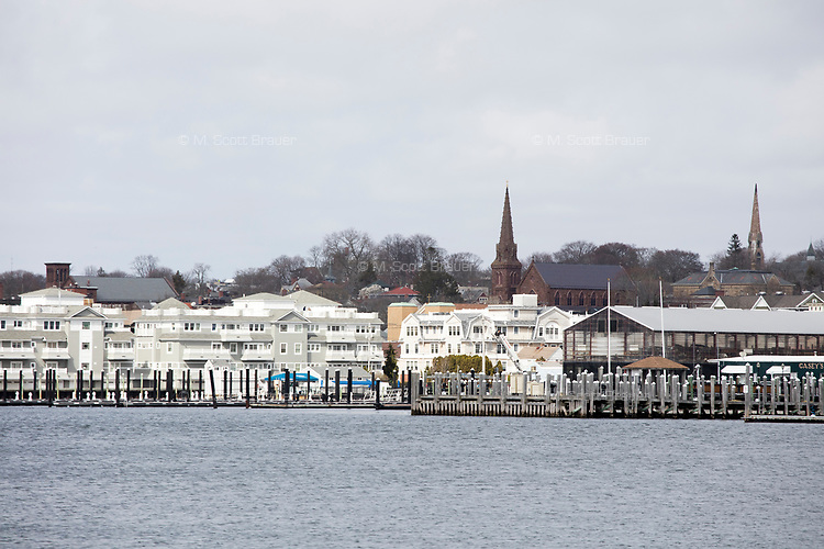 A view of Newport, Rhode Island, is seen over Newport Harbor on Wed., April 19, 2017.