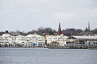 A view of Newport, Rhode Island, is seen over Newport Harbor on Wed., April 19, 2017.