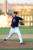 Troy Scribner (33) of the Lancaster JetHawks pitches during a game against the Visalia Rawhide at The Hanger on June 16, 2015 in Lancaster, California. Lancaster defeated Visalia, 11-3. (Larry Goren/Four Seam Images)