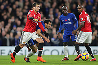 Henrikh Mkhitaryan of Manchester United tries to shake off a challenge from Chelsea's Davide Zappacosta during Chelsea vs Manchester United, Premier League Football at Stamford Bridge on 5th November 2017