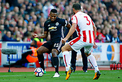 9th September 2017, bet365 Stadium, Stoke-on-Trent, England; EPL Premier League football, Stoke City versus Manchester United; Antonio Valencia of Manchester United is watched by Erik Pieters of Stoke City