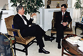 United States President Bill Clinton meets with Deputy Prime Minister Dick Spring of Ireland in the West Wing Office of US Vice President Al Gore in the White House in Washington, DC on February 8, 1996.<br /> Mandatory Credit:  Robert McNeely / White House via CNP