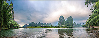 A peaceful morning in Lijiang River, China, with the famous limestone formations.