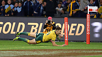 Nic White of the Wallabies goes over for a try during the Rugby Championship match between Australia and New Zealand at Optus Stadium in Perth, Australia on August 10, 2019 . Photo: Gary Day / Frozen In Motion