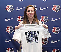#32 overall pick Jami Kranich of the Boston Breakers poses during the NWSL draft at the Pennsylvania Convention Center in Philadelphia, PA, on January 17, 2014.