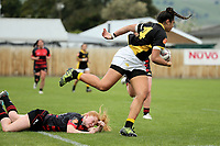 Action from the Farah Palmer Cup women's provincial rugby match between Canterbury and Wellington at Linfield Park in Christchurch, New Zealand on Saturday, 14 October 2017. Photo: Martin Hunter / lintottphoto.co.nz